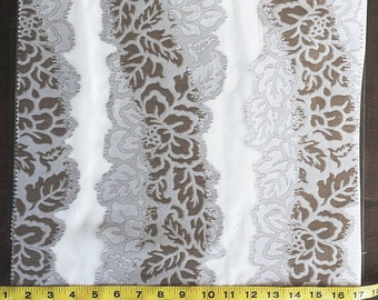Custom Curtains in Sheer Ivory with Dark Taupe / Silver Floral Stripe Pattern One Panel Custom sizes available