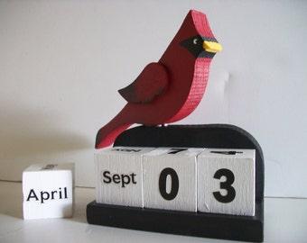 Cardinal Calendar Perpetual Wood Block Red Cardinal Bird Decor