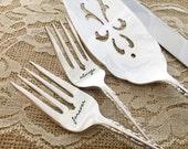"Forever & Always. Ornate vintage wedding ""countess"" forks and cake server and knife hand stamped"
