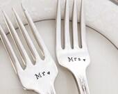 """Mr. & Mrs. Add date, vintage wedding  """"rosedale"""" forks viande, hand stamped"""