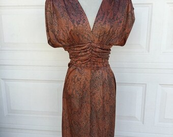 Summer sale 1980s bronze metallic ruched draped tulip skirt sexy low cut open back dress size S