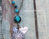 Antique Copper diffuser or locket necklace - teal Austrailian jasper stones and personalized pendants