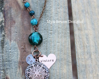 Antique Copper diffuser or locket necklace - teal Austrailian jasper stones and personalized pendants