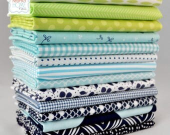 Navy/Aqua/Lime Green Fat Eighths Bundle, Designer cotton, 14 pieces, 1 3/4 yards total