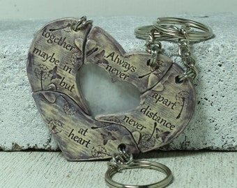 Friendship key chains set of 4 puzzle pieces Heart with friendship quote Always together never apart Lavender