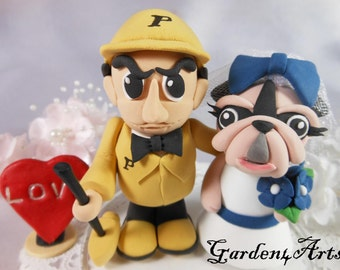 NEW--Wedding Cake Topper-Love MASCOT couple with circle clear base-custom handmade