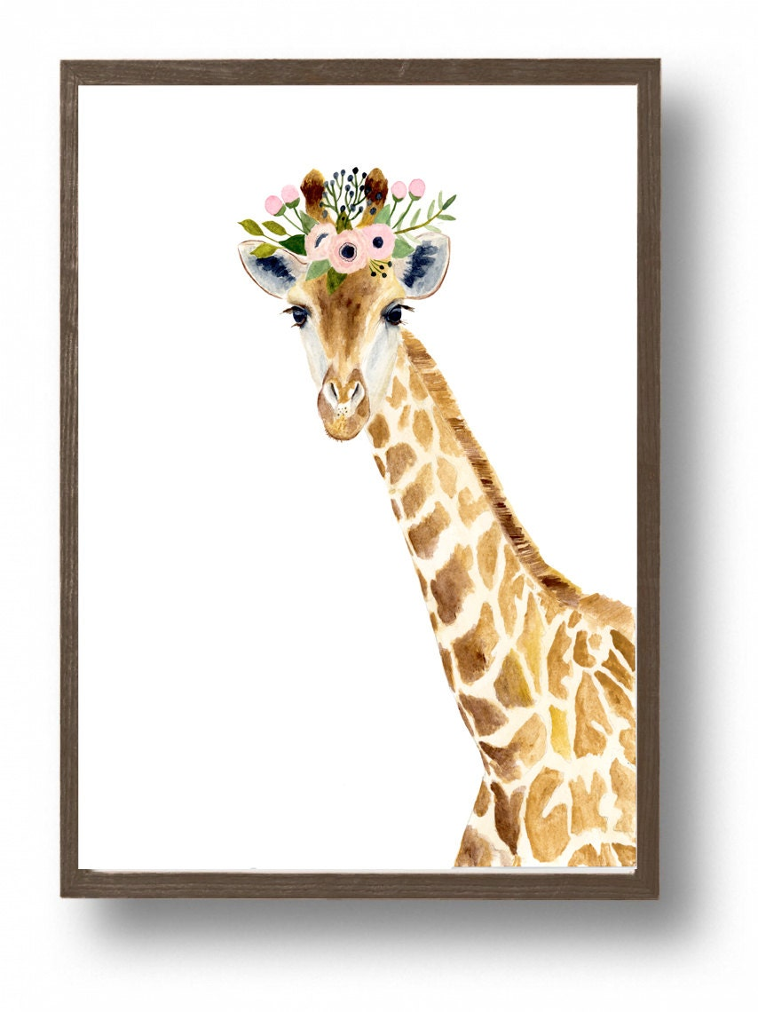 Watercolor giraffe Woodland nursery Animal Paintings Fox