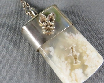 White Plume Sterling Silver Necklace pendant hand cut stone handmade