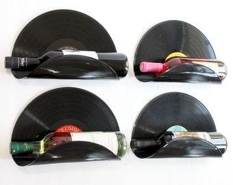Randomly Selected Upcycled Vinyl Record Wine Rack Wall Organizer - Set of 4