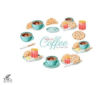 Coffee Clipart - Watercolor Clipart - Coffee Cup - Food clipart - Clip art commercial use - food illustration - Digital Clip art - TNCo