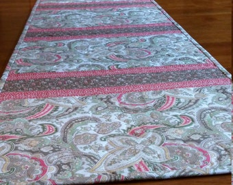 "Handmade Quilted Table Runner, Shabby Chic, 12.5 × 38"", Neutral Colors, Creams, Coral, Cocoa Brown,  Paisley Table Linens, Quiltsy Handmade"