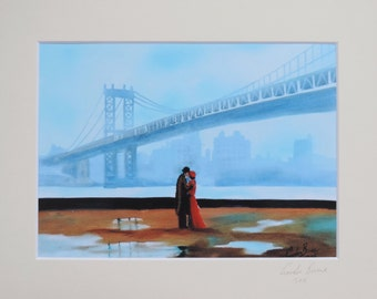 New York kissing couple signed mounted print from original painting Gordon Bruce new art