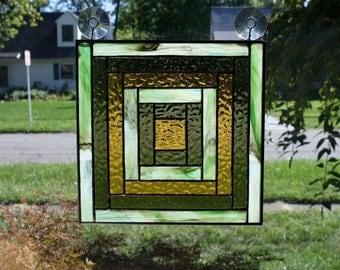 Stained Glass Suncatcher Log Cabin Quilt Panel Handmade
