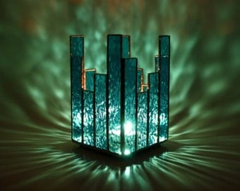 Candle Holder Turquoise Blue Stained Glass