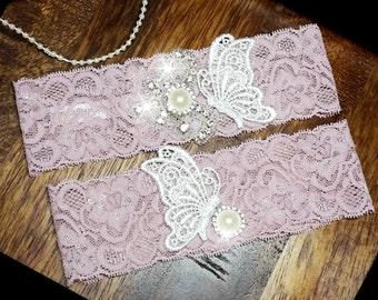 dusty pink Wedding Garter set  , stretch lace garter, crystal, rhinestone, pearl garter, rhinestone crystal garter set, butterfly garter