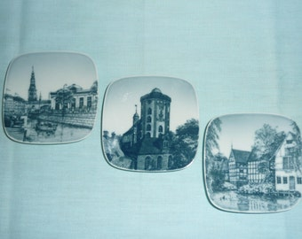 Set of Three Bing and Grondahl Souvenir Plates from Denmark