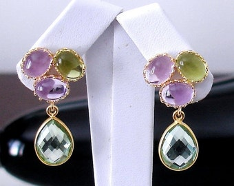 SHOP CLOSING SALE: Ashira My Flower Garden Silver Drop Earrings Amethyst, Green Amethyst, Tanzanite, Light Pink Amethyst Sterling Stud