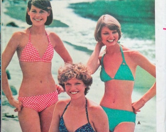 70s Bikini Pattern Bias Cut Multi-kini Butterick 4814 Size 6 to 14 UNCUT