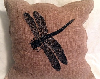 "Dragonfly, burlap and muslin screen printed 14"" decorative pillow"