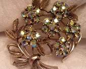 50% Vintage Coro Rhinestone Brooch AB with Bow