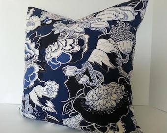Indigo Blue Floral Kiji Decorative Pillow Cover / Both Sides / Navy Blue / Indigo / Ivory / White