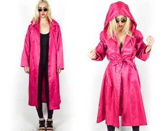 90's PINK TRENCH HOODIE Coat  With Belt Long Jacket Womens