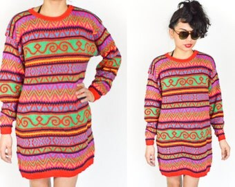 1980's 1990's MULTICOLOR ABSTRACT PATTERN Sweater. Long Sleeves Slouchy knit. Sweater Dress. Mod Grunge Punk Goth
