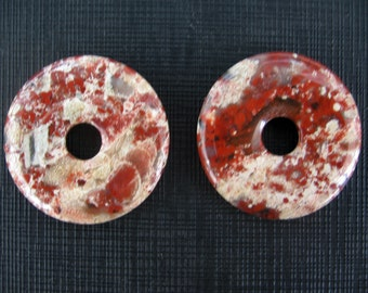 2 Pcs Natural Brecciated Jasper Donut Pendant 30mm