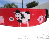 "Large Dog Collar Cows and Pigs 1.5"" wide side release adjustable  -  martingale style is cost upgrade"