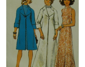 70s Evening Coat and Dress Pattern, High Collar, A-line, Sleeveless, Roll Back Sleeves, Notched Collar, Simplicity No.6046 UNCUT Size 10