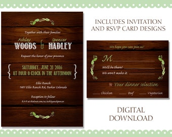 Woodsy Wedding Invitation and RSVP Cards *Download Only*