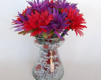 Set of 12 Red and Purple Gerber Daisy Flower Pens  with BIC Pens Black Ink One Dozen Office Floral Anti-Theft Pens