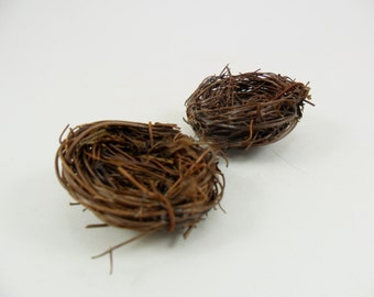"12 Twig Bird Nests Miniature Approx. 1"" to 1 1/2"" Diameter Man Made"