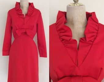 30% OFF 1970's Red Cocktail Dress with Ruffle Necklace and Bow Bodice Vintage Party Dress Size Small by Maeberry Vintage
