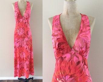 1970's Nylon Neon Pink Floral Slip Dress Vintage Flower Power Lightweight Maxi Dress Size Small Medium by Maeberry Vintage