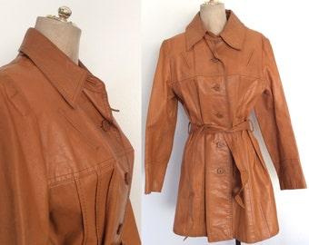 1970's Tan Leather Belted Jacket Plus Size Vintage Jacket Size Large XL by Maeberry Vintage