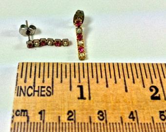 Pink rhinestone and faux pearl earrings
