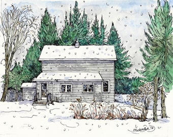 House Portrait,Custom Original Home Watercolor,Painting of House,Pen and Ink,Birthday,Anniversary,Mothers Day,Fathers Day,Holiday
