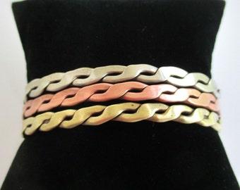 Copper, Brass, & Silver - Vintage 3 Tone Cuff Bracelet