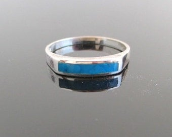 925 Sterling Silver & Blue Turquoise Inlay Ring / Band - Vintage