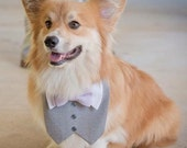 Light Gray Tuxedo/Tux bib-style bandana for dogs or cats - custom made to order