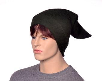 Dark Holly Green Pointed Elf Hat Stocking Cap Drab Dwarf Cap Long Pointed Beanie