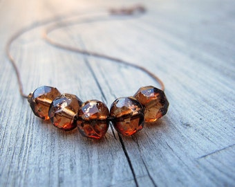 Dainty Copper Necklace Czech Glass Choker Cinnamon Girl Bohemian Jewelry Boho Chic Fine Copper Chain Easy to Do Up Fall Color Gold Flecked