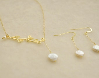 Gold Olive Branch Adjustable Lariat Jewelry Set with Freshwater Pearls - Bridesmaids Gift Set, Wedding Jewelry, Dangle earrings