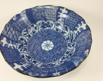 Vintage Toyo Japan Blue and White Bowl Made in Japan Scalloped Eddge