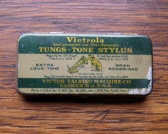 Victrola Tungs Tone Sylus Needles Tin for Gramophone Antique
