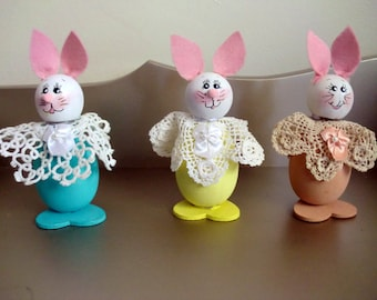 Three hand made wooden Easter Rabbit