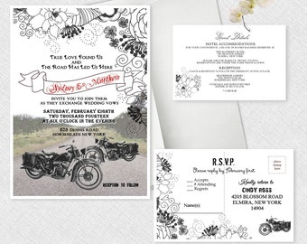 Motorcycle Wedding Invitations, Bike Themed Invitation Motorcycles Cyclist Theme Invitation SET OF 50