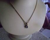 antique Tiny SILVER Aquamarine LANTERN Necklace FREE Domestic Shipping