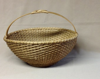 Round Basket, Hande Woven, Oval Wood Handle with Butterfly Knot, Hoop Base